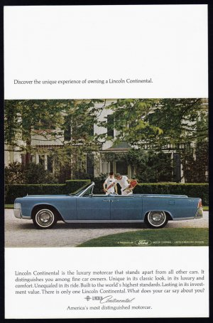1964 LINCOLN CONTINENTAL Vintage Auto Print Ad