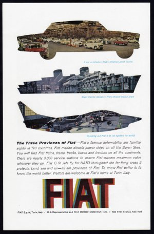 1962 FIAT Motor Co. Vintage Print Ad