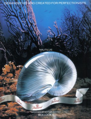 1990 BACCARAT CRYSTAL &quot;Nautilus Shell&quot; Vintage Print Ad