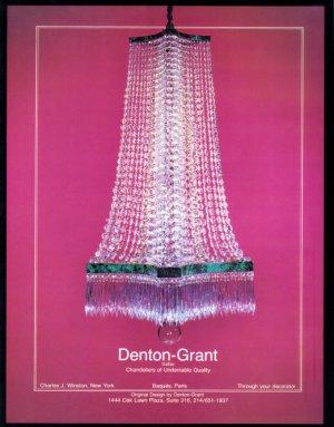 1979 CHANDELIERS by DENTON GRANT Vintage Magzine Ad