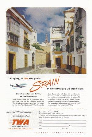 1951 TWA AIRLINES Vintage Print Ad