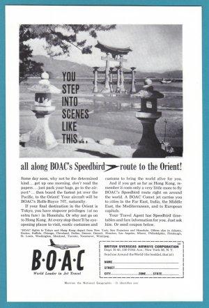1960 BRITISH AIRWAYS Vintage BOAC Print Ad