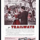 1957 TRAILWAYS BUS Vintage Travel Print Ad