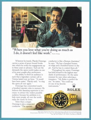 1995 PLACIDO DOMINGO Original ROLEX Watch Print Ad