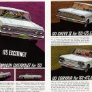 1963 CHEVROLET Vintage Auto 2-Page Print Ad