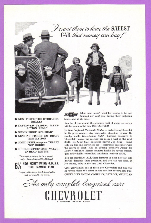 1936 CHEVROLET Vintage Auto Print Ad