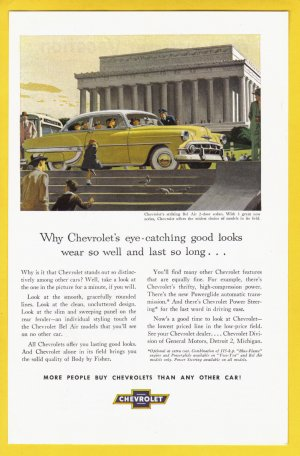 1953 CHEVROLET Bel Air Vintage Auto Print Ad