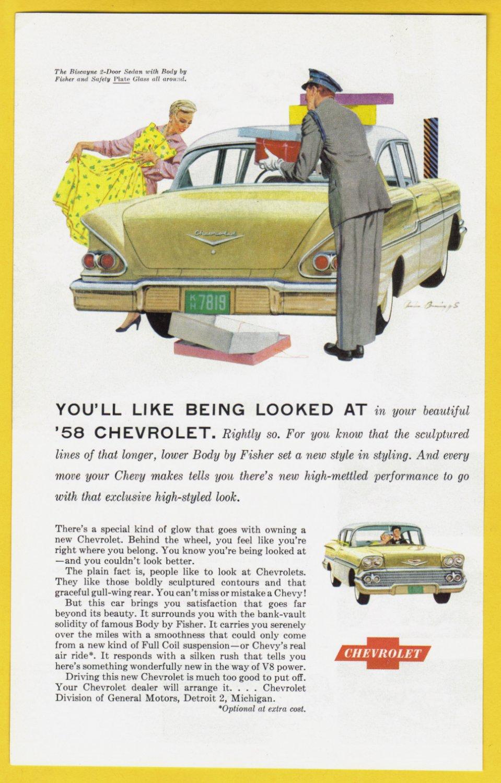 1958 CHEVROLET Vintage Auto Print Ad