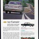 1962 CHEVROLET CORVETTE & Corvair Vintage Auto Print Ad