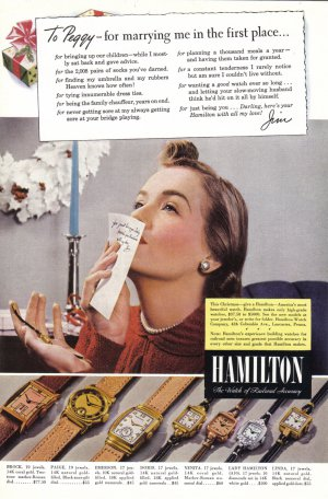 1953 HAMILTON WATCHES Vintage Magazine Ad