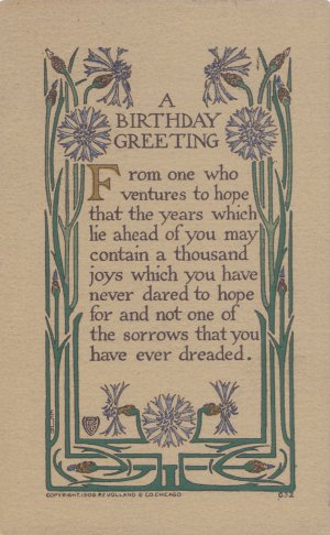 VINTAGE 1909 Birthday Greetings POSTCARD