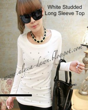 White Studded long Sleeve Top #10000