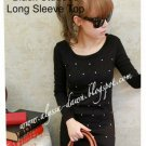 Black Studded Long Sleeve Top #10000