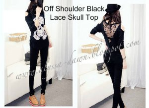 Off Shoulder Black Lace Skull Top #10001