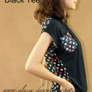 Poka Dots Black Tee #10003