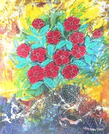 Original Batik Art Painting on Cotton, 'Flowers' by Kapitan (75cm x 90cm)