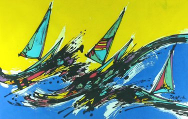 Original Batik Art Painting on Cotton, 'Sailing the Waves' by Taufik (75cm x 45cm)