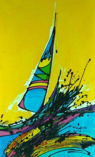 Original Batik Art Painting on Cotton, 'Sailing the Waves' by Taufik (45cm x 75cm)