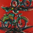 Original Batik Art Painting on Cotton, 'Bicycle and Rickshaw' by Taufik (45cm x 75cm)
