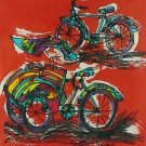 Original Batik Art Painting on Cotton, 'Bicycle and Rickshaw' by Taufik (30cm x 30cm)