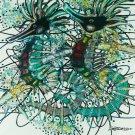 Original Batik Art Painting on Cotton, 'Sea Horses' by M. Yono (45cm x 50cm)