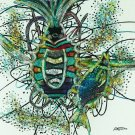 Original Batik Art Painting on Cotton, 'Fabulous Sea Creatures' by M. Yono (45cm x 50cm)