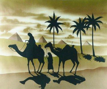 Original Batik Art Painting on Cotton, 'Desert Traveller' by Mohsein (90cm x 75cm)