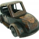 Hand-crafted Wooden Miniature Vintage Car with Batik Motive, Volkswagen Beetle (Scale 1:16)