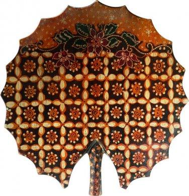 Hand-crafted Lotus Leaf Shaped Wooden Platter with Batik Motives (18.5cm Diameter)