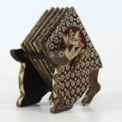 Hand-crafted Wooden Coasters in Deer shaped Holder with Batik Motives