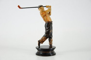 Hand-crafted Wood Figurine with Batik Motives, Golfer