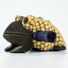 Hand-crafted Wood Figurine with Batik Motives, Croaking Bullfrog (L)