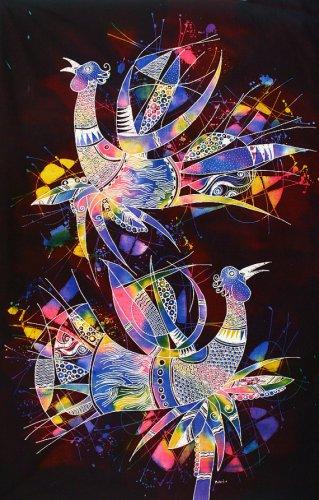 Original Batik Art Painting on Cotton, 'Phoenix' by Zabid (90cm x 150cm)