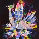 Original Batik Art Painting on Cotton, 'Phoenix' by Zabid (75cm x 90cm)