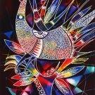 Original Batik Art Painting on Cotton,'Phoenix' by Zabid (45cm x 75cm)