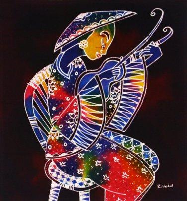 Original Batik Art Painting on Cotton, 'Playing Violin' by Zabid (45cm x 50cm)