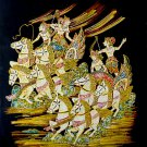 Original Batik Art Painting on Cotton, 'Traditional Horse Chariot Racing' by Wahid (75cm x 90cm)