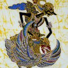 Original Batik Art Painting on Cotton, 'Warrior Gatutkaca' by Wahid (45cm x 75cm)
