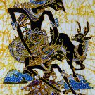 Original Batik Art Painting on Cotton, 'Rama and Sinta' by Wahid (45cm x 75cm)