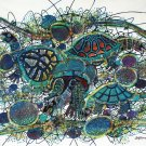 Original Batik Art Painting on Cotton, 'Sea Turtles' by M. Yono (100cm x 90cm)