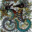 Original Batik Art Painting on Cotton, 'Sea Horses' by M. Yono (75cm x 90cm)
