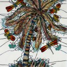 Original Batik Art Painting on Cotton, 'Palm Tree' by M. Yono (75cm x 90cm)