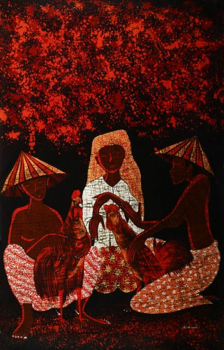 Original Batik Art Painting on Cotton, 'Cocks and People' by Mohsein (90cm x 150cm)