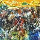 Original Batik Art Painting on Cotton, 'Wild Horses' by Kapitan (200cm x 90cm)
