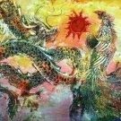 Original Batik Art Painting on Cotton, 'Dragon and Phoenix' by Kapitan (150cm x 90cm)