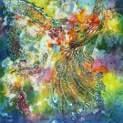 Original Batik Art Painting on Cotton, 'Dragon and Phoenix' by Kapitan (90cm x 150cm)