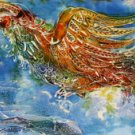 Original Batik Art Painting on Cotton, 'Phoenix' by Kapitan (150cm x 45cm)