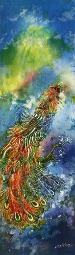 Original Batik Art Painting on Cotton, 'Phoenix' by Kapitan (45cm x 150cm)