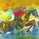 Original Batik Art Painting on Cotton, 'The Jockey' by Kapitan (90cm x 75cm)