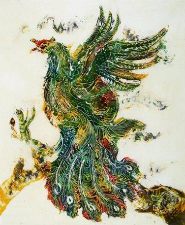 Original Batik Art Painting on Cotton, 'Phoenix' by Kapitan (75cm x 90cm)